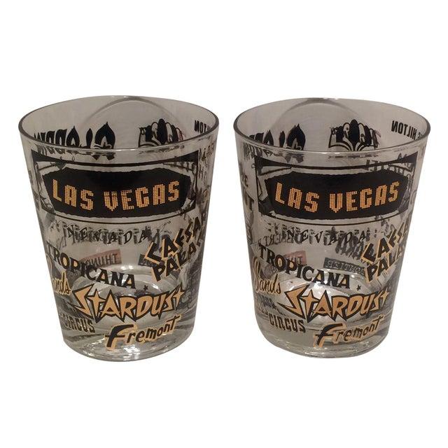 Mid Century Las Vegas Tumbler Glasses - A Pair - Image 1 of 7