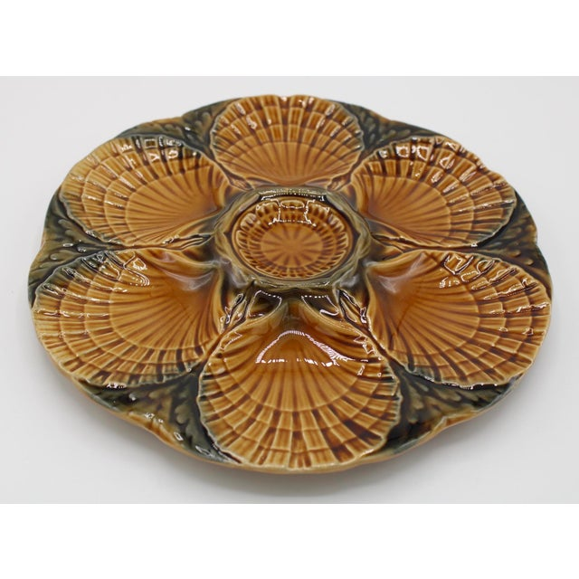 Ceramic 1930s French Sarreguemines Scallop Shell Oyster Plate For Sale - Image 7 of 9
