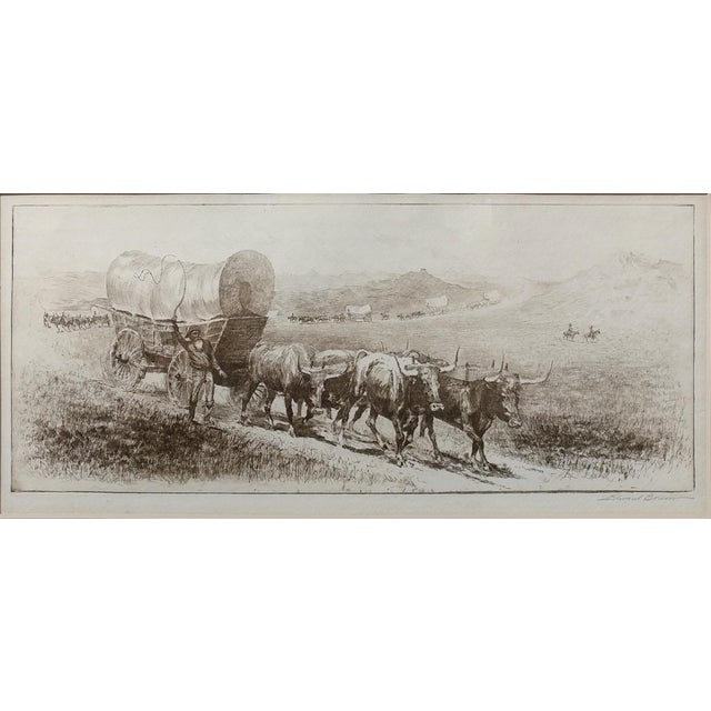 "Edward Borein-Emigrant Train-Cowered Wagon w/Bulls-Original Etching-Pencil Signed image size 14""x 6"" - etching on paper..."
