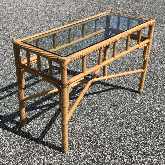 Boho Chic Vintage Boho Chic Reeded Rattan Console Table With X Base & Inset Glass For Sale - Image 3 of 5