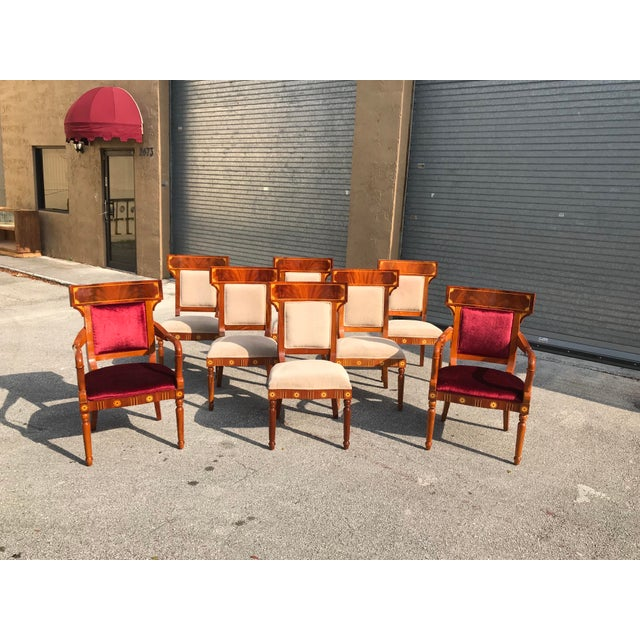 1910s Vintage Biedermeier Style Flame Mahogany Dining Chairs- Set of 8 For Sale - Image 12 of 13
