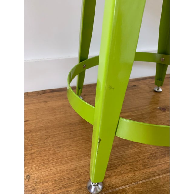 2010s Crate & Barrel Kid's Bright Green Metal Stools- Set of 4 For Sale - Image 5 of 7