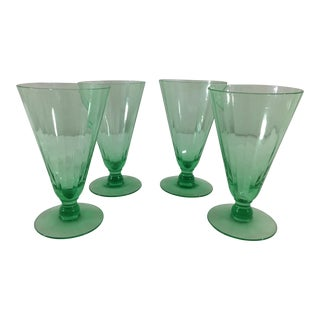 Green Depression Glasses - Set of 4