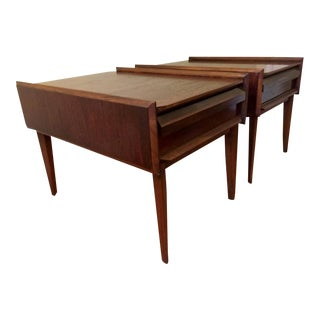 Vintage Andre Bus for Lane Furniture's First Edition Collection Walnut Side Tables -- A Pair