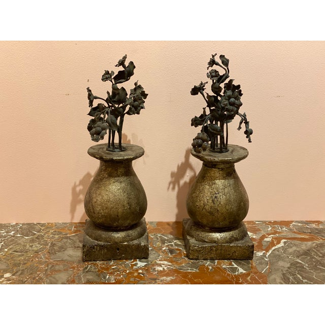 """Pair of 19th century wooden finials with black iron flower bouquets. 5.5"""" Square x 17"""" High"""
