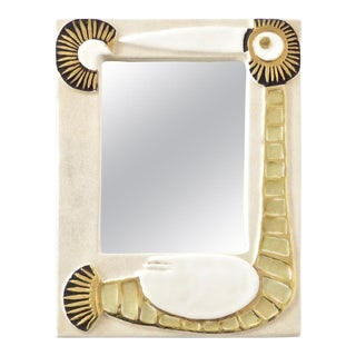 French Francois Lembo Ceramic Wall Mirror For Sale