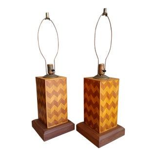 1940s Vintage Folk Art Parquetry Lamps - a Pair For Sale