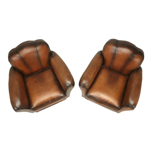 French Art Deco Original Cloud Back Style Club Chairs in Incredible Condition For Sale