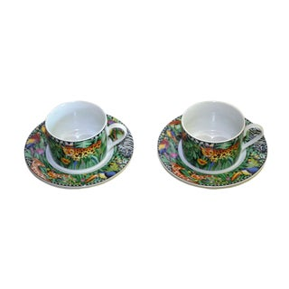 Vintage Magic Jungle Pattern Sakura Coffee Cups With Saucers - a Pair, 4 Pieces For Sale