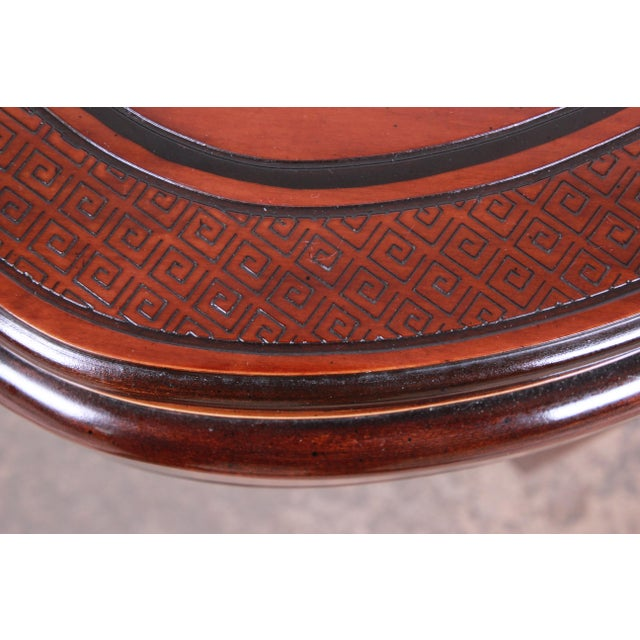 Drexel Heritage Carved Mahogany Hollywood Regency Chinoiserie Clover-Shaped Occasional Table For Sale In South Bend - Image 6 of 8