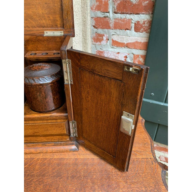 Antique English Tiger Oak Pipe Smoke Cabinet Card Game Box Humidor Lift Top For Sale - Image 9 of 13