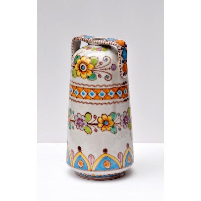 Decorative floral vase designed by Vincento Pinto for Vietri Ceramica, Italy 1930s.