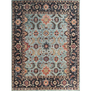 Hand Knotted Light Blue Medallion Pattern Rug - 8' X 10' For Sale