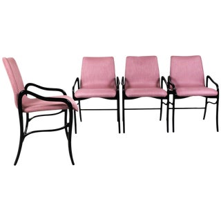 1960s Set of Four Armchairs by Enrico Ciuti, Rounded Beech, Pink Linen - Italy For Sale