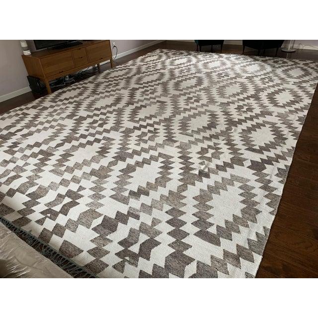 Mid-Century Modern Wool Kilim Area Rug - 12′ × 18′ For Sale - Image 3 of 3