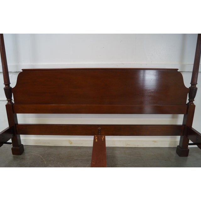 Baker Mahogany Chippendale Style King Size Poster Bed - Image 5 of 10