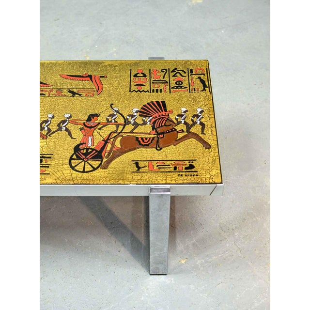 Chrome Artistic Mid-Century Belgium Design Egyptian Decorated Coffee Table by De Nisco, 1970s For Sale - Image 7 of 10