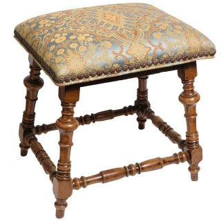 Jacobean Style Gold & Blue Damask Stool For Sale