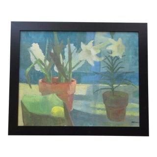 Martindale Signed Vintage Mid Century Modernist Floral Lily Still Life Painting For Sale