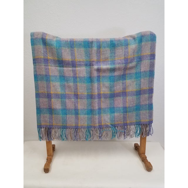 Wool Throw Aqua Blue, Yellow and Purple Stripes on a Gray Background - Made in England A versatile throw in a check...