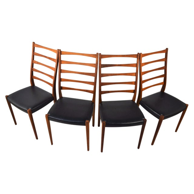 Set Of 4 Teak Ladder Back Chairs By Svegards - Image 1 of 10
