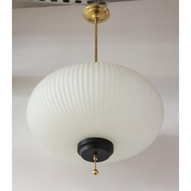 Stilnovo Ribbed Milk Glass Globe Lantern For Sale - Image 9 of 13