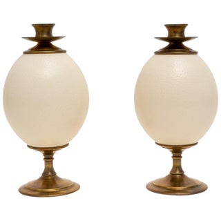 Ostrich Egg Candle Holders - a Pair For Sale