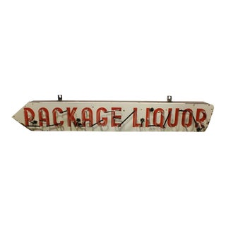 "1950s Vintage Porcelain and Neon ""Package Liquor"" Sign For Sale"