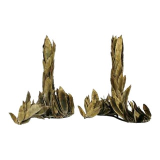 French Art Deco Torch Cut Brass Leaf Motif Table Sculptures - a Pair For Sale
