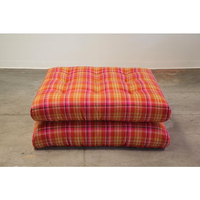 A vintage pair of Mah Jong ottomans/floor cushions designed by Hans Hopfer for Roche Bobois circa 1970s. Just...