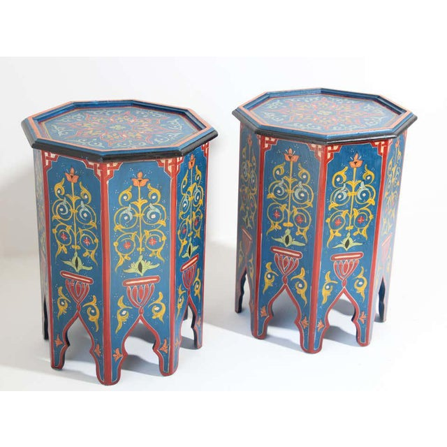 Wood Hand Painted Blue Moroccan Pedestal Tables - a Pair For Sale - Image 7 of 13
