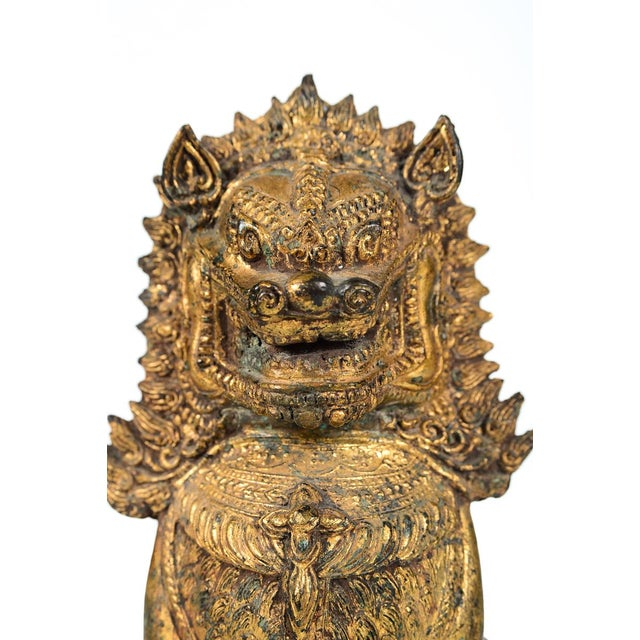 Antique Cambodian Gilt Bronzed Foo Dogs - A Pair For Sale - Image 4 of 8