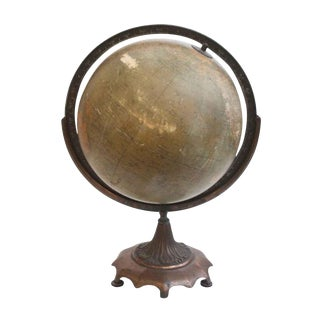 Antique Weber Globe on Bronze Stand For Sale