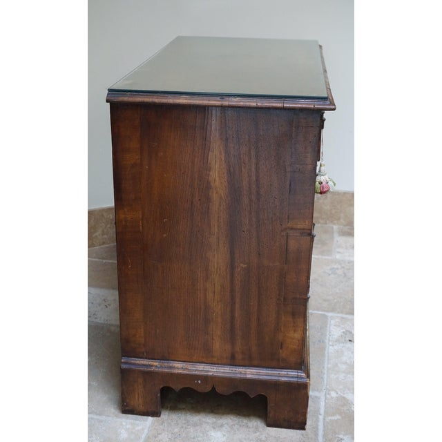 Metal Small Antique English Burlwood Veneer Chest For Sale - Image 7 of 10