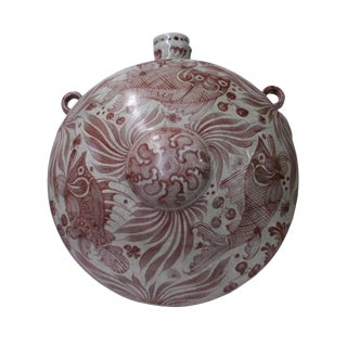 Chinese Fade Red White Porcelain Round Bottle Shape Display For Sale