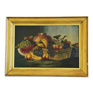 Circa 1911 Antique Fruit Tablescape Oil Painting