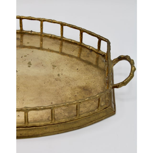 Mid-Century Modern Mid 20th Century Brass Bamboo Tray For Sale - Image 3 of 8
