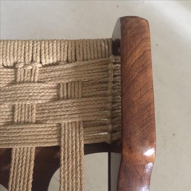 Hans Wegner Style Walnut Folding Jute Chair - Image 3 of 4
