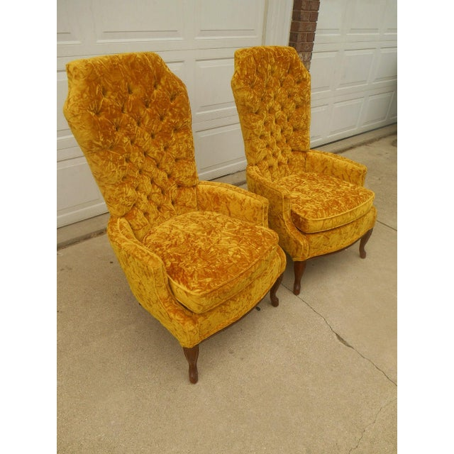 Hollywood Regency High Back Tufted Chairs - A Pair - Image 4 of 8