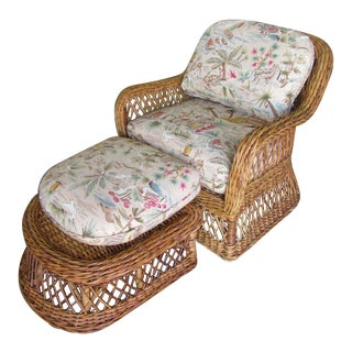 Woven Rattan Lounge Chair & Ottoman For Sale