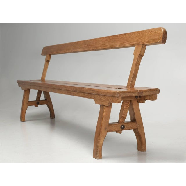 Late 19th Century Antique Country Pine Bench With Adjustable Back For Sale - Image 5 of 13