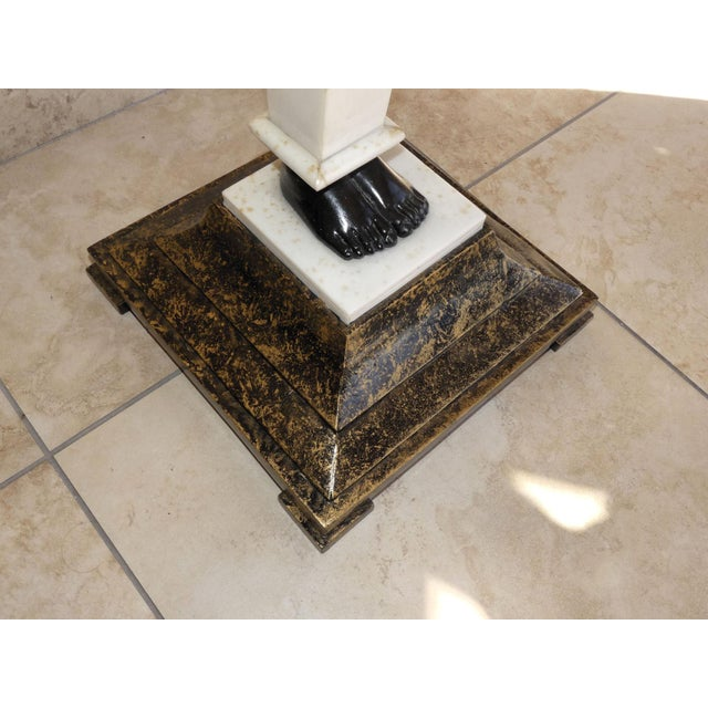 2000 - 2009 Egyptian Style Mosaic Marble Top Side Table For Sale - Image 5 of 8