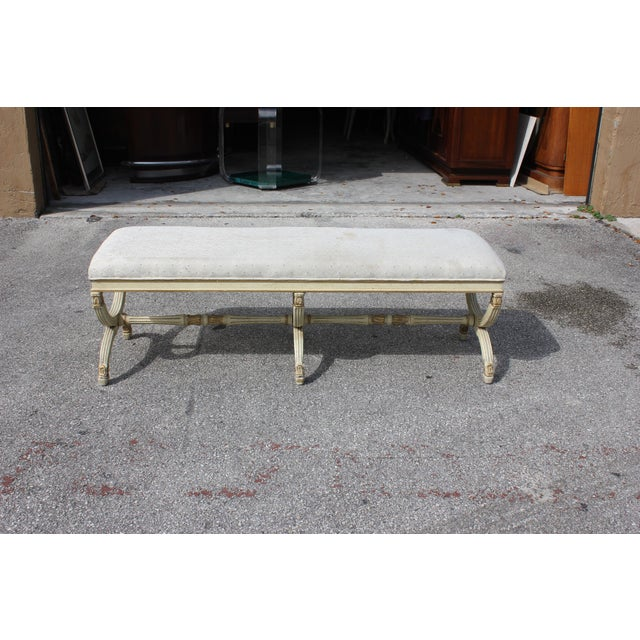 1900s Vintage Long French Louis XVI Barrel Legs Seating Bench For Sale - Image 12 of 13