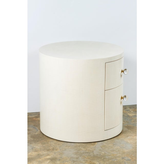 Crystal Italian-Inspired 1970s Style Round Nightstand For Sale - Image 7 of 8