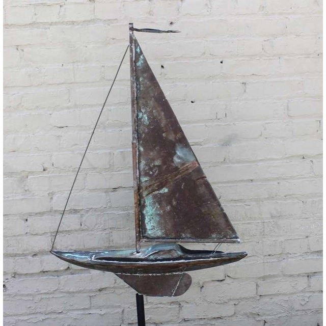 19th c. New England Folk Art Copper Sailboat Weather Vane For Sale In Los Angeles - Image 6 of 8