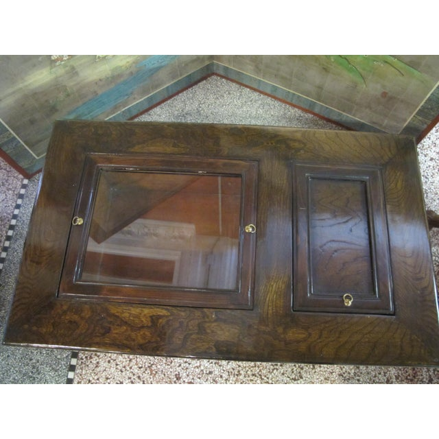 Asian Japanese Dark Wood Grain Hibachi Coffee Table With Drawers For Sale - Image 3 of 11