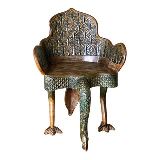 20th Century Anglo Indian Carved Peacock Side Chair For Sale