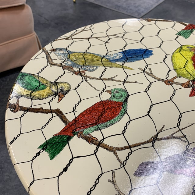 Mid-Century Modern 20th Century Italian Piero Fornasetti Colorful Birds Side Table For Sale - Image 3 of 7