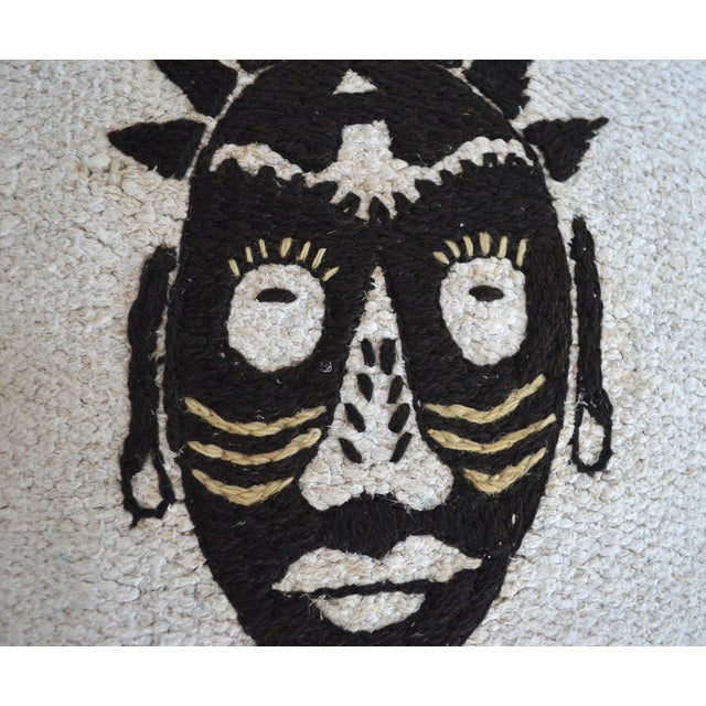 "African African Mask Handmade Rug Hemp Pillow Cover Throw With Free Insert 16"" X 16"" For Sale - Image 3 of 7"
