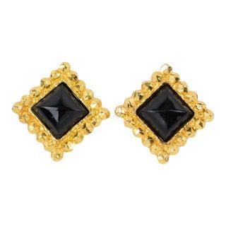 Edouard Rambaud Paris Signed Clip Earrings Gilt Metal Black Resin Cabochon For Sale